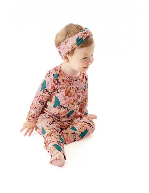 Bawełniane leginsy niemowlęce w zwierzaki - różowe