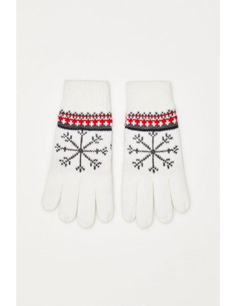 Rękawiczki w zimowy wzór - białe