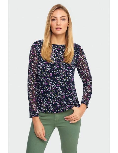 Bluzka damska granatowa z kwiecistym wzorem