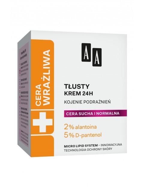AA Cera Wrażliwa krem tłusty do cery suchej i normalnej 24h - bezzapachowy 50 ml