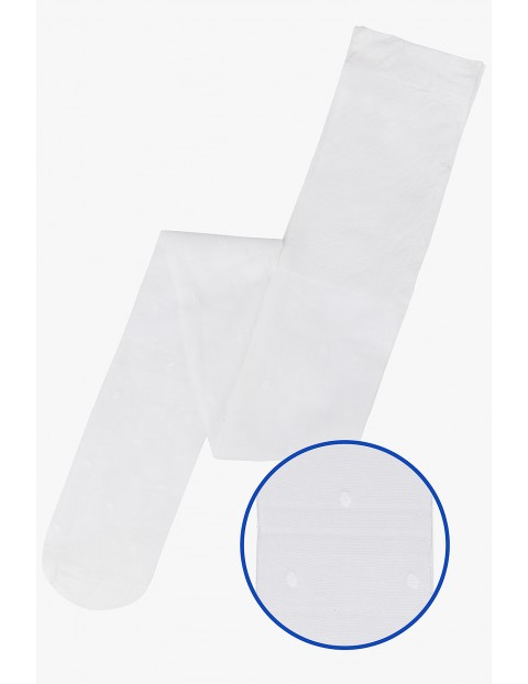 Rajstopki dla dziewczynki- białe w groszki