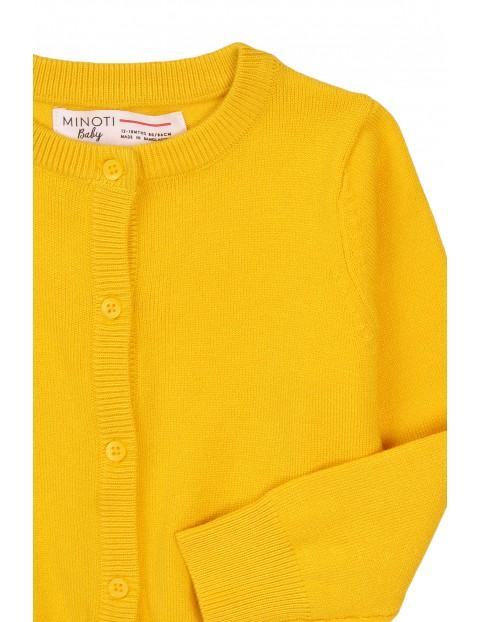 Kardigan dziewczęcy rozpinany - żółty