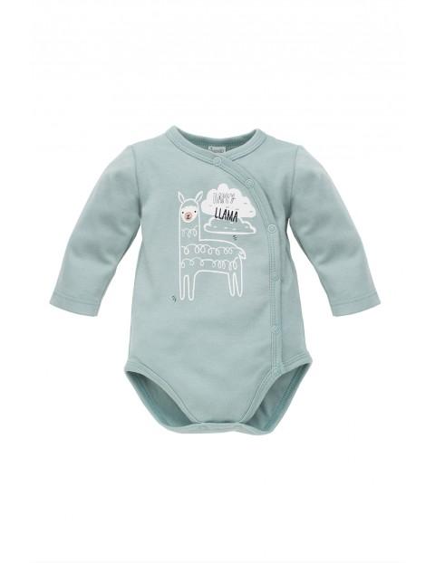 Body niemowlęce z długim rękawem- niebieskie lamą