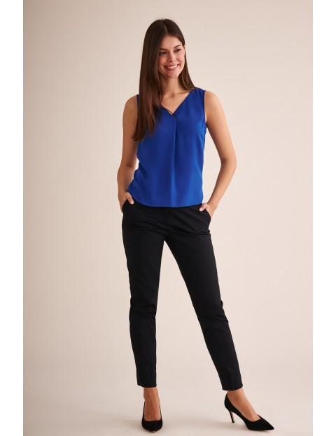 Bluzka tkaninowa bez rękawów - niebieska