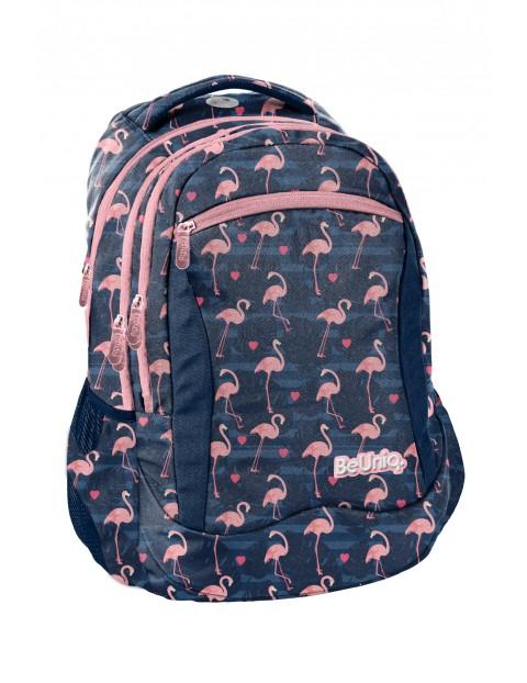 Plecak szkolny granatowy w flamingi