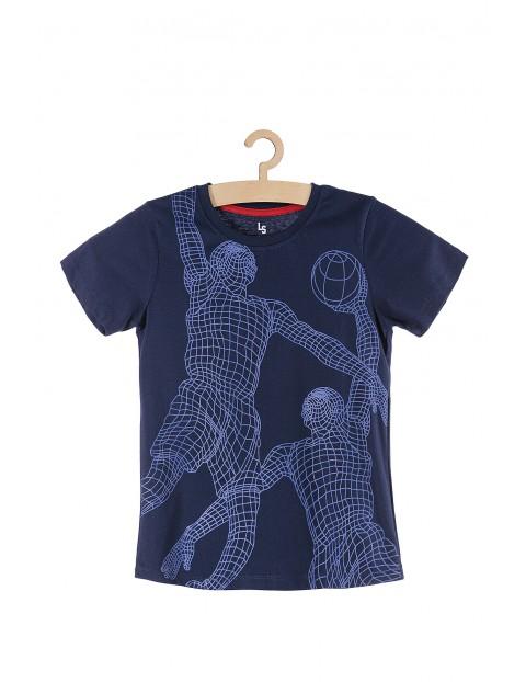 T-shirt bawełniany granatowy z koszykarzami