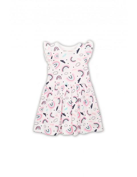 Dzianinowa sukienka na lato- różowa w kolorowe wzorki