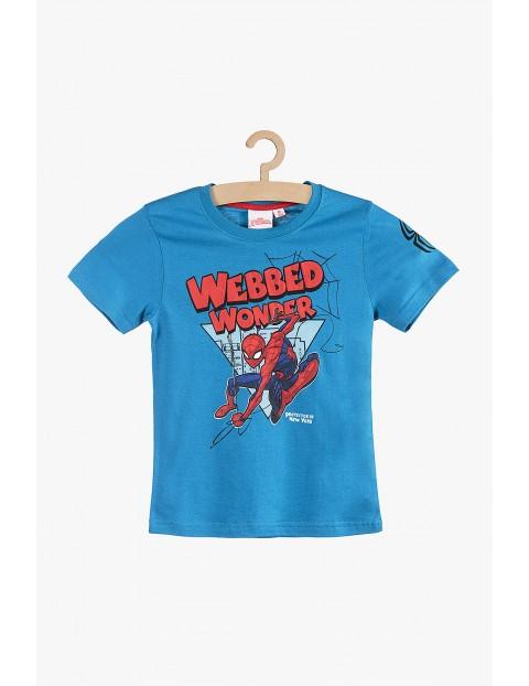 T-Shirt bawełniany Spiderman niebieski