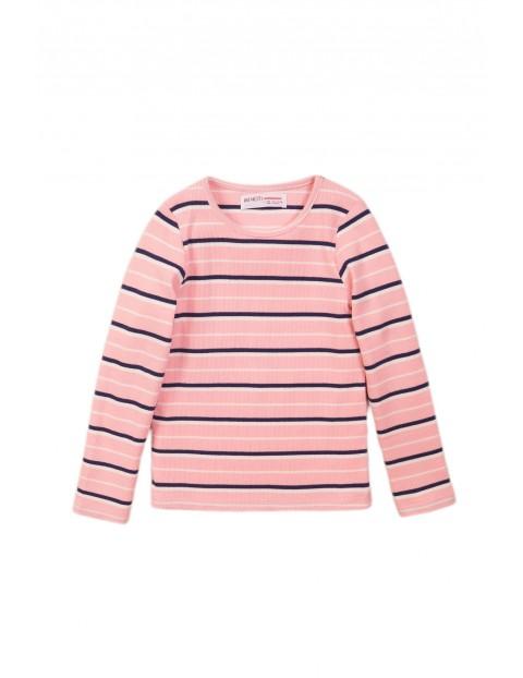 Bluzka dziewczęca różowa w paski- długi rękaw