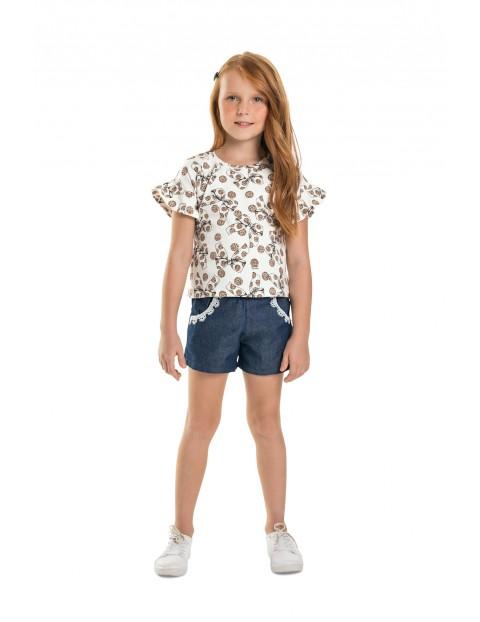 Koszulka dziewczęca biała z kokardkami