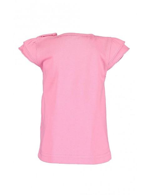 Koszulka dziewczęca różowa w motylki