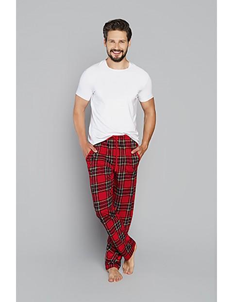 Bawełniane spodnie męskie w kratę - czerwone