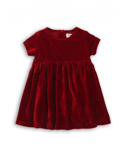 Sukienka dziewczęca welurowa- bordowa
