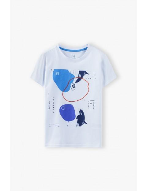 T-shirt chłopięcy biały z nadrukiem Ocean