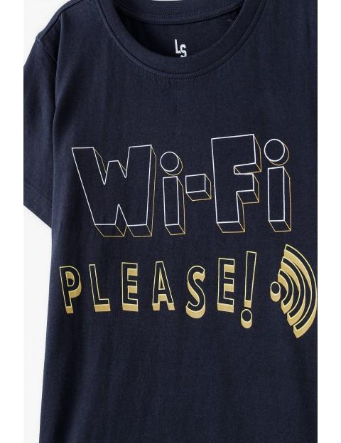 Bawełniany t-shirt chłopięcy czarny z napisem- Wi-Fi please
