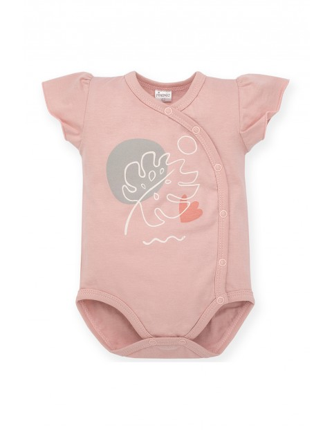 Body niemowlęce kopertowe, różowe z nadrukiem