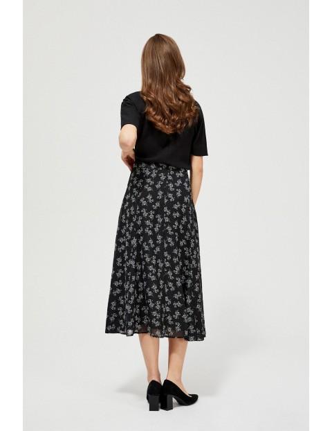 Szyfonowa spódnica z falbaną - czarna w kwiaty