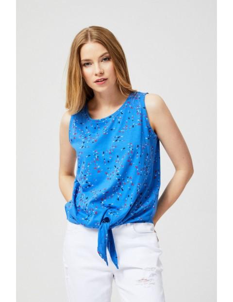 Top bawełniany z nadrukiem niebieski