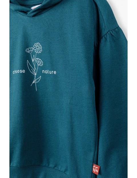 Zielona bluza dziewczęca z nadrukiem
