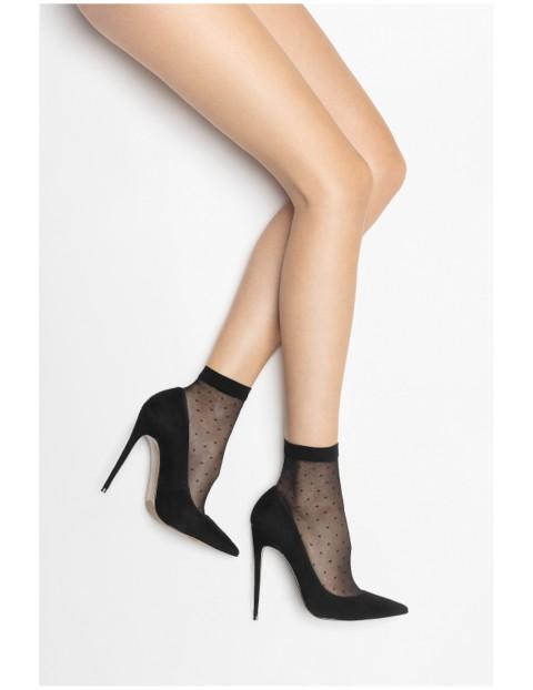 Skarpetki damskie cienkie czarne w kropki - 3-pack 20 DEN