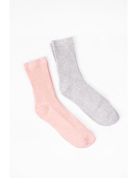Skarpety dla dziewczynki- 2pak- szare i różowe