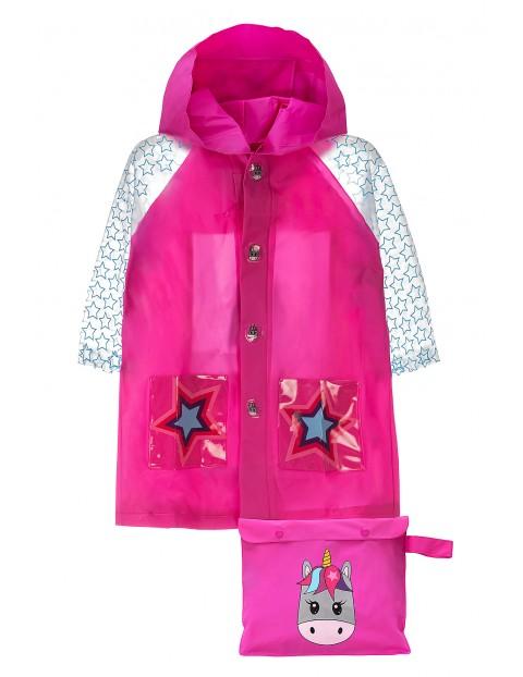 Płaszcz przeciwdeszczowy różowy z jednorożcem