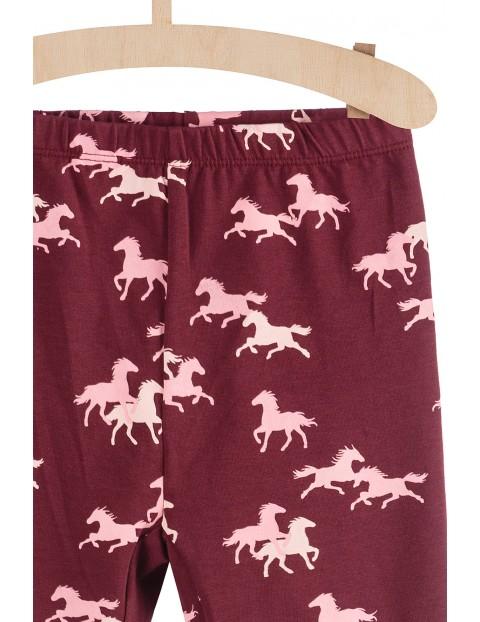 Bordowe leginsy dziewczęce w konie