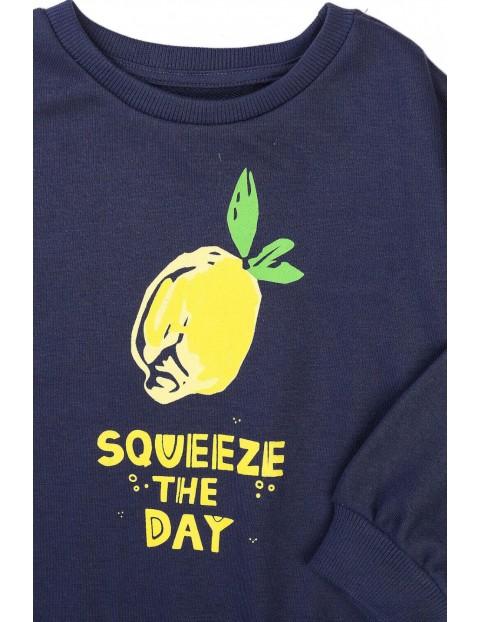 Bluza dziewczęca granatowa z cytryną