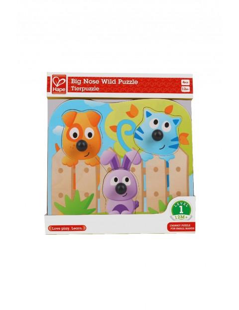 Wielki nos- drewniane puzzle dla dzieci 12msc+
