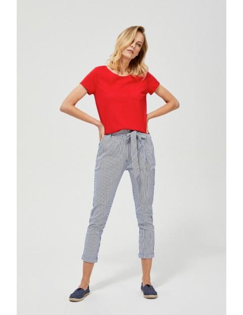Bawełniane spodnie w marynistycznym stylu granatowe