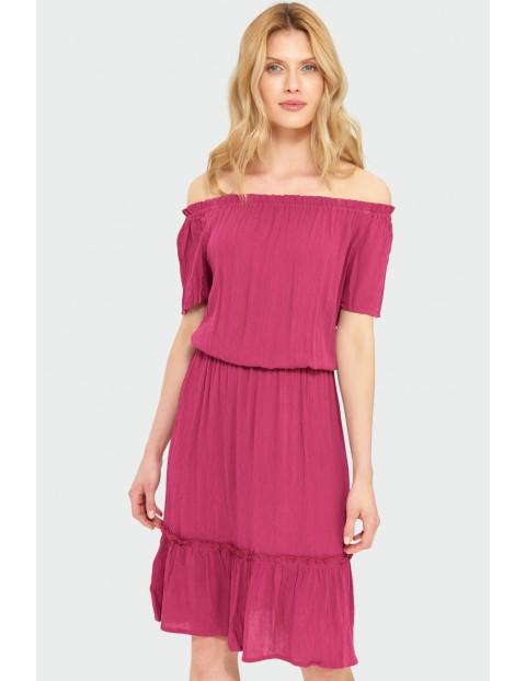Wiskozowa sukienka z dekoltem typu hiszpanka krótki rękaw