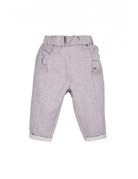 Bawełniane spodnie dziewczęce -szare