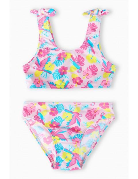 Strój kąpielowy dwuczęściowy w kolorowe kwiatki - różowy