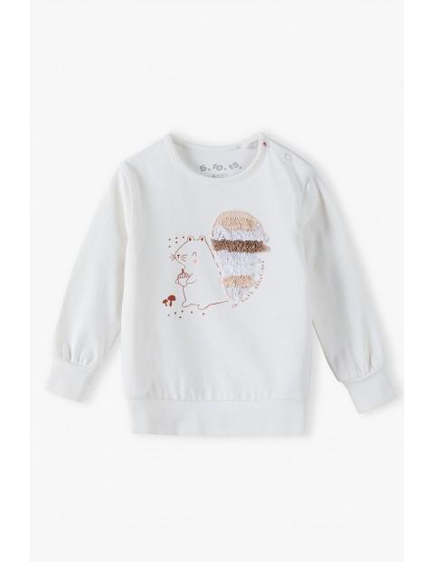 Dzianinowa bluzka niemowlęca z wiewiórką