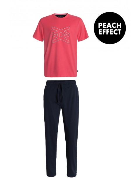 Piżama męska spodnie z długimi nogawkami + czerwony t-shirt Atlantic