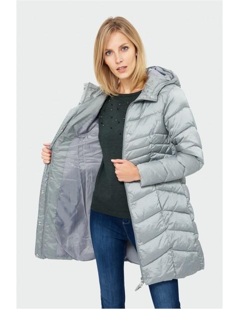 Szara pikowana kurtka zimowa- ubrania dla kobiet rozm.44