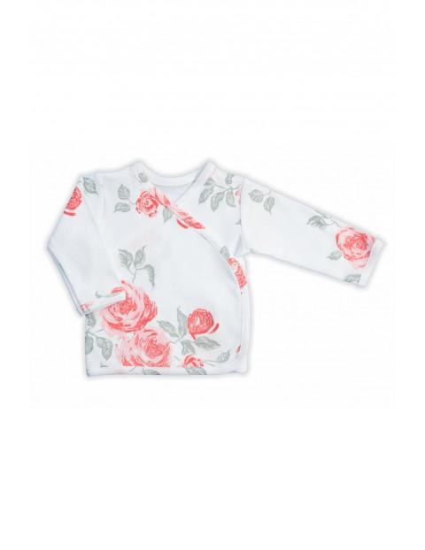 Bawełniany kaftanik dziewczęcy z kolekcji Róża w kwiaty - biała