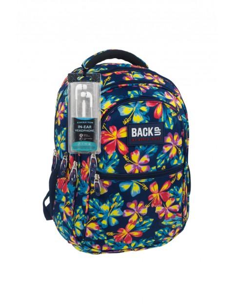 Plecak dziewczęcy w kwiaty 4komorowy- słuchawki Gratis