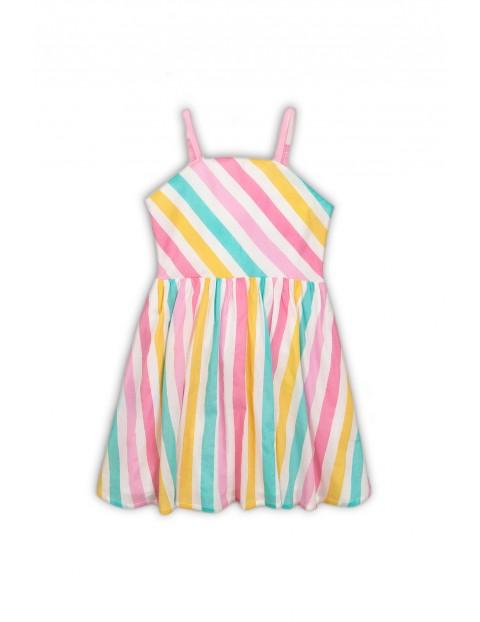 Sukienka w kolorowe paski z wiązaniem z tyłu