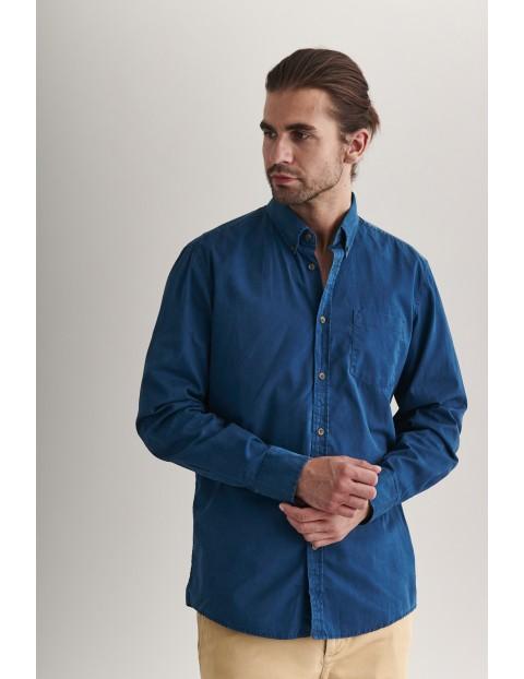 Bawełniana jenasowa koszula męska - niebieska
