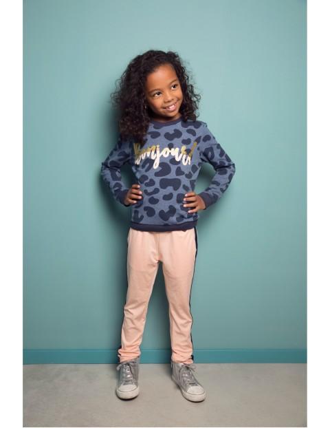 Bluza dziewczęca nierozpinana- niebieska w panterkę
