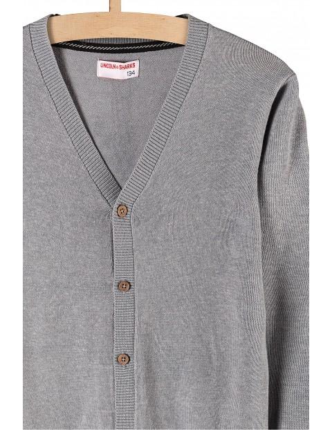 Sweter z guzikami- szary