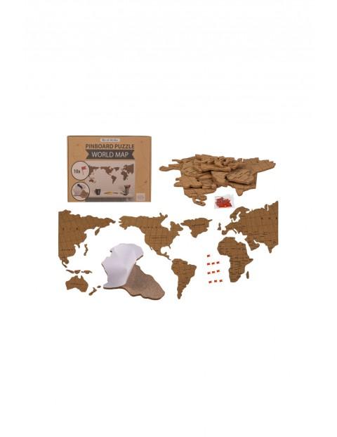 Korkowa tablica memo - mapa świata -28 x 37 x 3,5 cm