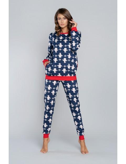 Piżama damska w pingwiny - długi rękaw + długie spodnie - granat