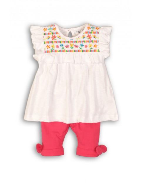 Komplet niemowlęcy bluzka z kolorowymi haftami i dzianinowe spodnie