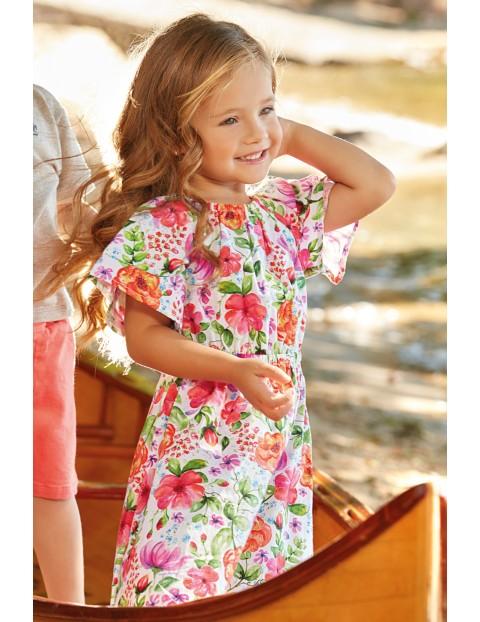 Sukienka dziewczęca bawełniana w kolorowe kwiaty