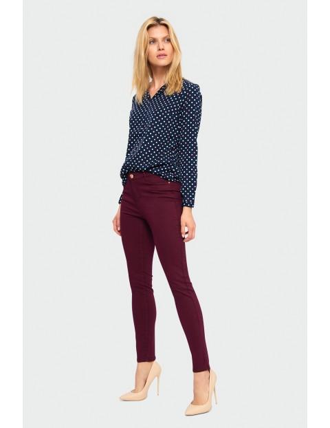 Bordowe spodnie damskie- slim