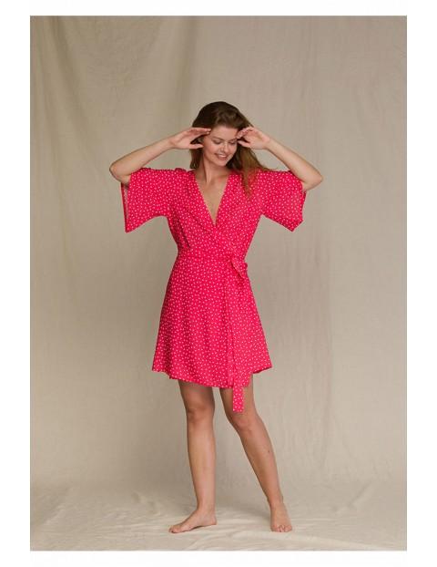 Sukienka kopertowa w kropki różowa