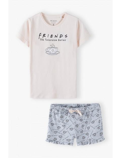 Pidżama dziewczęca Friends - t-shirt i szare spodenki z kokardką
