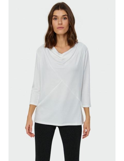 Biała bluzka damska dzianinowa z cięciami na przodzie - 3/4 rękawy